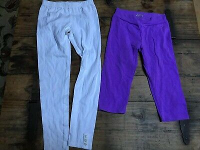 LOT OF 2 GIRLS SIZE LARGE 10/12-white LONG LEGGINGS & Capri Purple Justice C8