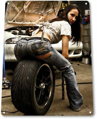 Tire Pressure Pinup Girl Sexy Hot Rod Car Garage Auto Decor Large Metal Tin Sign