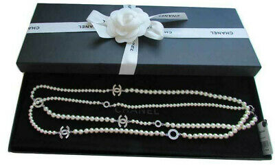 Chanel Long Pearl Crystal CC Logo XO Necklace New - Authentic with tags