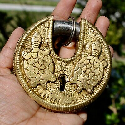 Vintage Solid Brass Turtle Tortoise Padlock Antique working lock and key Rustic