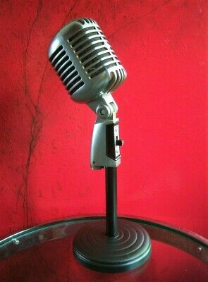 Vintage 597ms Shure Brothers 55 Sw Microfono Dinamico Elvis W Scrivania Stand