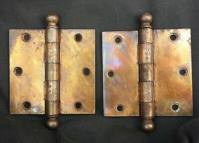 "6 Pair avail Cleaned Vintage Antique 3.5""x3.5"" Bronze Steel Interior Door Hinges"