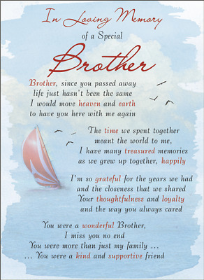 BROTHER Plastic/Waterproof/Grave/Memorial/Remembrance/Tribute Card ANY Relation