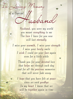 HUSBAND Plastic/Waterproof/Grave/Memorial/Remembrance/Tribute Card ANY Relation