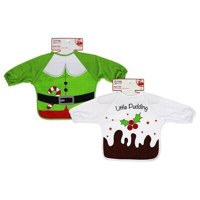 Novelty Christmas Baby Bib Little Pudding or Elf with Sleeves by First Steps