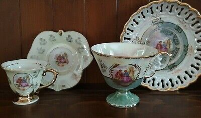 Lovely Set of 2 Porcelain Courting Couple Cups and Saucers