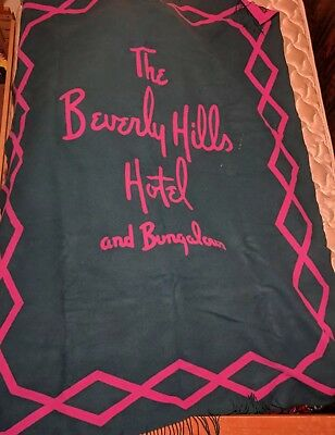 "The Beverly Hills Hotel Bungalows Lambswool Asprey 71"" x 55"" ANTIQUE BLANKET"