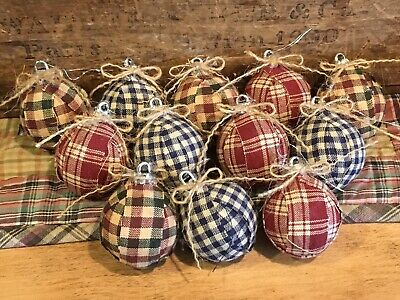 Primitive Mini Rag Ball Christmas Ornaments Bowl Fillers Set of 12 Prim