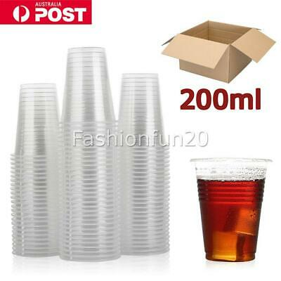 Disposable Plastic Cups Clear Reusable Drinking Water Cup Party 200ml Bulk W