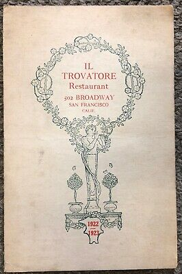 Vintage 1922-1923 Trovatore Restaurant, San Francisco New Year's Eve Menu