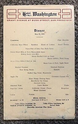 Vintage 1915 Hotel Washington, San Francisco Menu