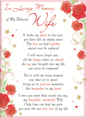 WIFE Plastic/Waterproof/Grave/Memorial/Remembrance/Tribute Card ANY RELATION