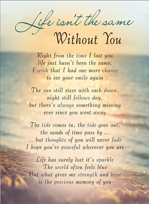 WITHOUT YOU Plastic/Waterproof/Grave/Memorial/Remembrance/Tribute Card