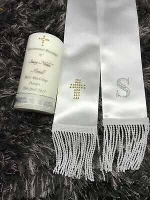 Personalised Baptism Candle And Sash/stole Choice In Designs!!