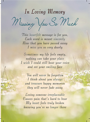 MISSING YOU SO MUCH Plastic/Waterproof/Grave/Memorial/Remembrance/Tribute Card