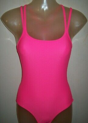 Girls Bright Pink Neon Cross Strap Back Swimsuit age 9