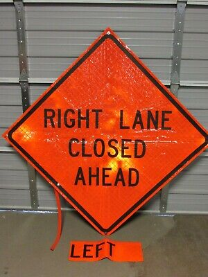 """Mdi Compact 48"""" Foldable Construction Windmaster Sign, Left / Right Lane Closed"""