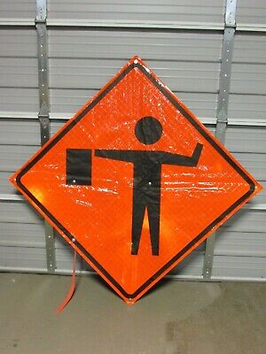 "Mdi Compact 48"" Foldable Road Construction Windmaster Sign, Flagger Ahead Symbol"
