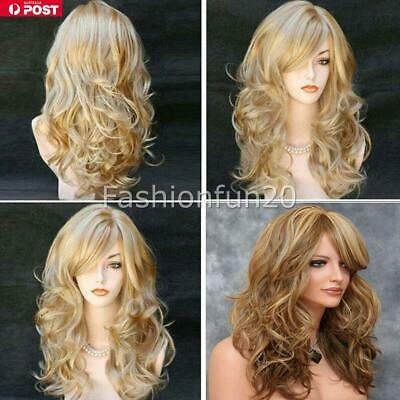 NEW Womens Fashion Ombre Blonde Long Curly Wigs Natural Wavy Hair Cosplay Wig AU
