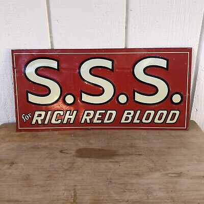 SSS TONIC FOR RICH RED BLOOD 1920s ORIGINAL METAL EMBOSSED PHARMACY MEDICAL SIGN