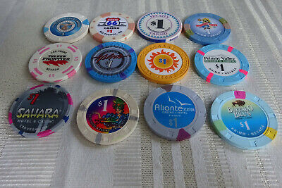 Lot of 12 Assorted $1.00 Casino Chips Different Cities Some Obsolete
