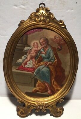 Antique Baroque Oil On Copper With Saint And Angel In Tin Gold Frame