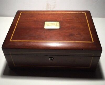 Antique Mahogany With Inlay Humidor Lined With White Milk Glass