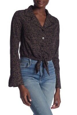 Ivory Rose NEW Womens Size Medium Leopard Print Tie Front Blouse Black Gray $35