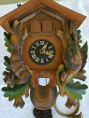 Vtg Cuckoo Clock Hunters double door Bachmaier & Klemmer Germany Thorens swiss