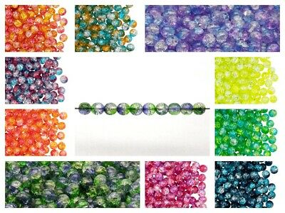 CHOOSE COLOR! 50pcs Cracked Pressed Beads 6 mm ,Czech Glass