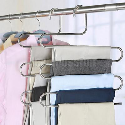 2/5/10pcs S Type Layer Multi Trousers Holder Scarf Tie Towel Rack Pants Hangers