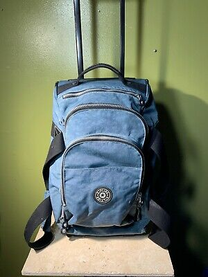 Kipling Travel Duffle Bag Rolling Wheels Carry On Luggage Suitcase Blue/gray