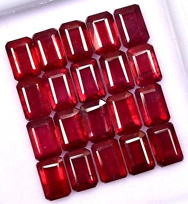 Natural Ruby Octagon Cut 6x4 mm Lot 10 Pcs 8.93 Cts Dark Red Loose Gemstones GF