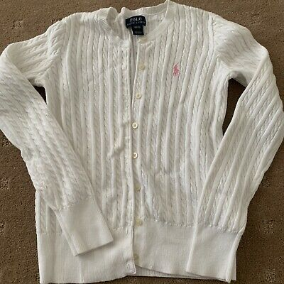 Ralph Lauren Polo Girls White Cable Knit Cardigan Size Large 12-14 Yrs Great Con