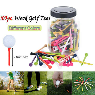 100pcs Colorful Wooden Evolution Step Down Golf Tees System Tee Height 2.6''
