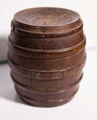 ANTIQUE SOLID WOOD BARREL PAPER WEIGHT possibly from an old ship
