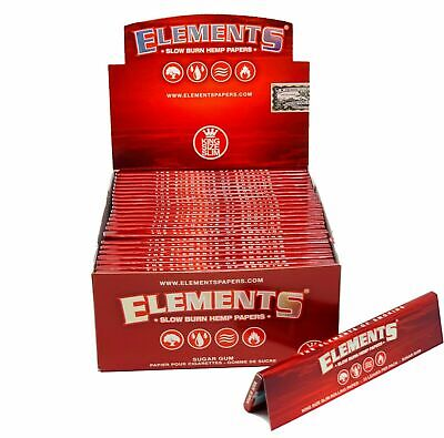 Elements Slow Burn Hemp Red King Size Slim Burning Rolling Papers Sugar Gum