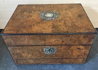 A Beautiful Victorian Antique Burr Walnut Vanity Jewellery Writing Box Vgc 12In
