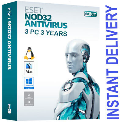 ESET NOD32 Antivirus 2020 3 PC , 3 Years  Valid Until 01/2023 - Instant Delivery