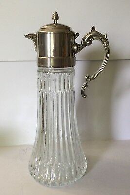 RARE Tall GLASS COFFEE POT With Silver Plated Handle and Lid