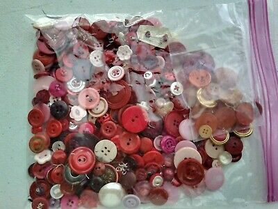 Nearly 12 lb of RED PINK ORANGE Vintage Antique Buttons Bakelite Celluloid Wood