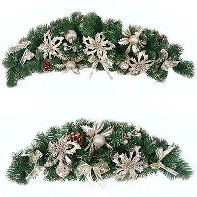 Luxury Gold Christmas Decorated Foliage Garland Wreath Swag Fireplace