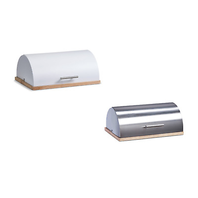 Bread Bin Stainless Steel Lid Bread Storage Box Curved Loaf Container Kitchen
