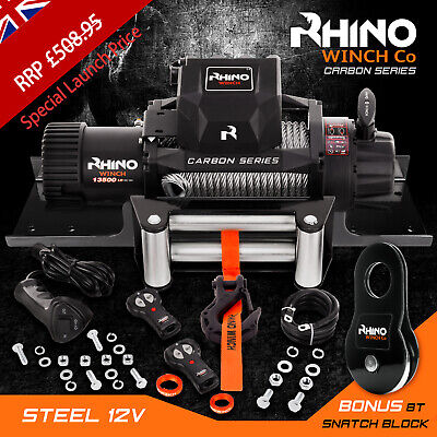Rhino Winch Electric Recovery, 12v 13500lb Carbon - 4x4 Steel + Mounting Plate