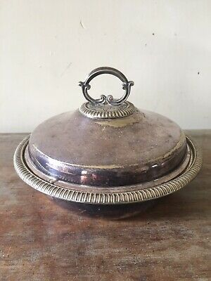 Antique Silver Plated Serving Dish Entree Tureen Vegetable Platter with Lid