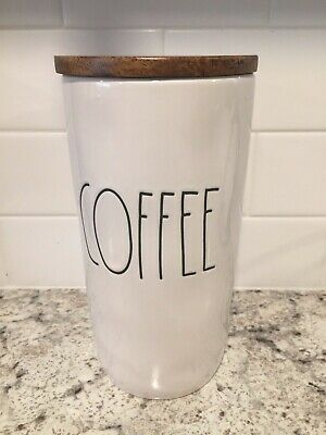 RAE DUNN Artisan Collection LL COFFEE Canister w/ Wood Lid Farmhouse by Magenta