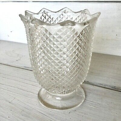 EAPG? Clear Glass Diamond Point Celery Spoon Vase Foot Scallop 3-Mold Pressed