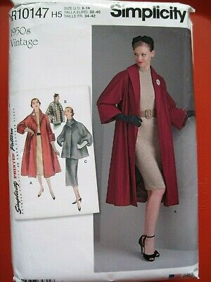 New Simplicity Sewing Pattern R10147 / 8509 Misses 1950'S Style Lined Coat 6-14