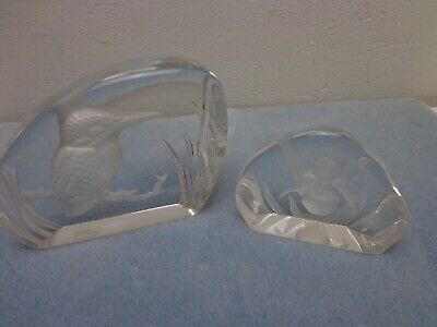 2 x Crystal Glass Sculpture Paperweights - Kingfisher & Iris