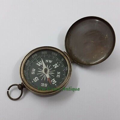 Antique Brass Lid Compass Maritime Collectible Gift